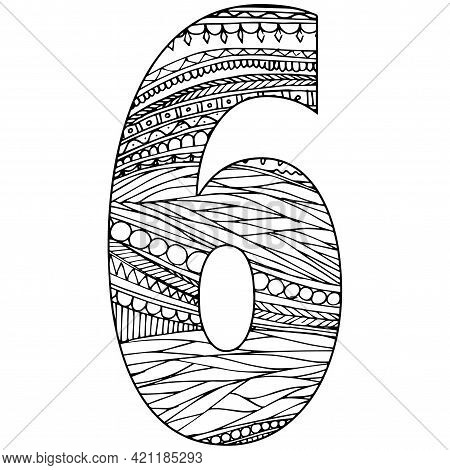 Zentangle Stylized Alphabet - Numeral 6. Black White Hand Drawn Doodle. Ethnic Pattern. African, Ind