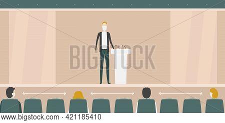 Safe Distance In Auditorium. Cartoon Style. Vector Illustration.