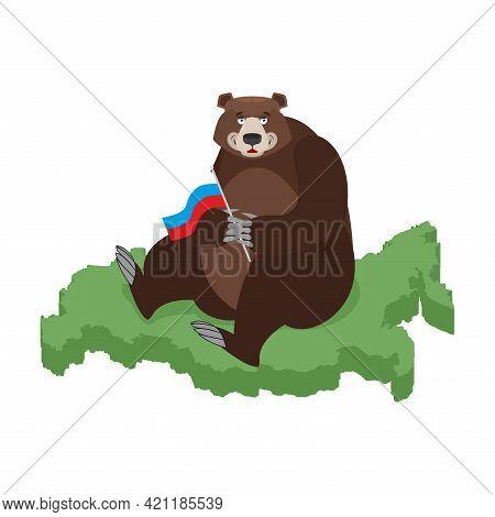 Bear And Russia Map. Russian Bear. Russia National Beast