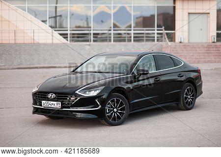 Novyy Urengoy, Russia - May 3, 2021: Black Saloon Car Hyundai Sonata (dn8) In The City Street.