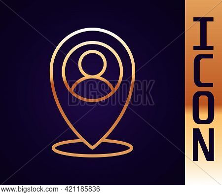 Gold Line Map Marker With A Silhouette Of A Person Icon Isolated On Black Background. Gps Location S