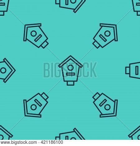 Black Line Bird House Icon Isolated Seamless Pattern On Green Background. Nesting Box Birdhouse, Hom