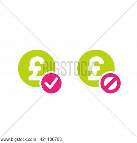 Two Money Icons. Green Circles With Pound Sterling Signs And Green Circle With Tick And Crossed Circ