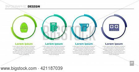 Set Kitchen Timer, Cutting Board And Meat Chopper, Measuring Cup And Gas Stove. Business Infographic