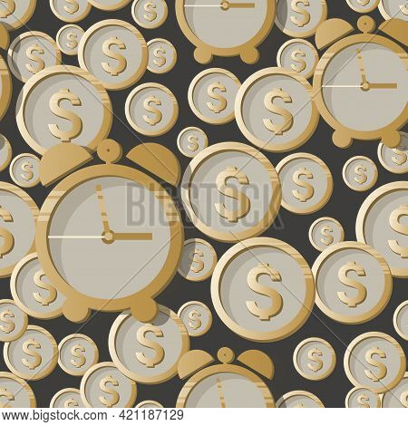 Time Money. Dollars Coins. Vector Money Background. Money. American Money Sign On Gray Background. D