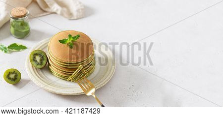 Pancakes Banner. Green Pancakes With Matcha Tea. Ideas And Recipes For Healthy Breakfast With Superf