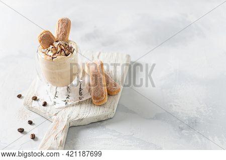 Tiramisu Milkshake Recipe, Bar Menu. Italian Dessert Tiramisu In A Glass Dressed With Mascarpone Cre