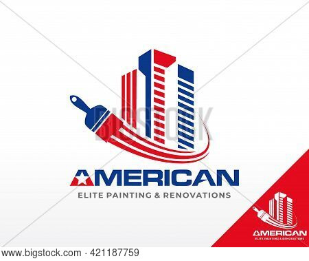 Painting Services Logo. House And Residence Logo Design Vector Template