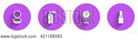 Set Makeup Powder With Mirror, Perfume, Round Makeup And Lipstick Icon With Long Shadow. Vector