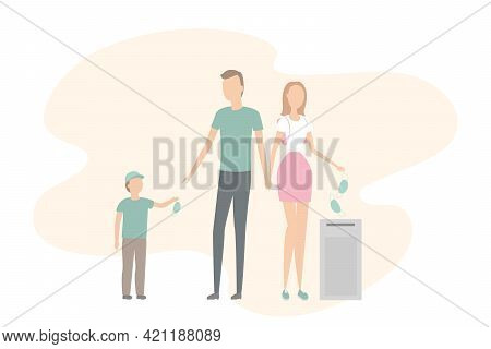 Family Take Off And Throw Out Masks. Quarantine Cancellation. Vector Illustration.