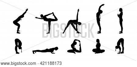 Yogi Woman Silhouettes Set. Hatha Yoga Asanas. Vector Illustration Isolated In White Background