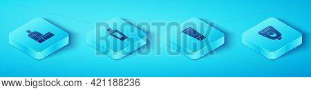 Set Isometric Cream Or Lotion Cosmetic Tube, Bottle Of Shampoo, Epilator And Icon. Vector