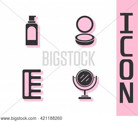 Set Round Makeup Mirror, Spray Can For Hairspray, Hairbrush And Makeup Powder With Icon. Vector