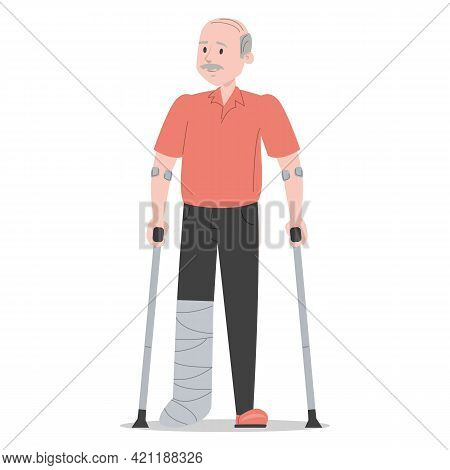 Old Man On Crutches With A Broken Leg