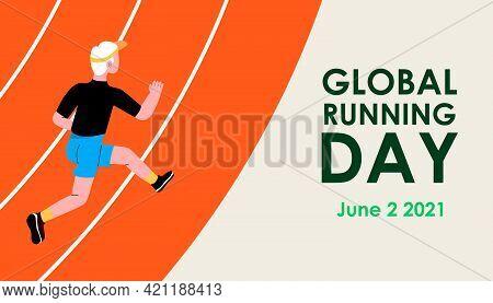 Global Running Day. A Man In A Sports Uniform Jogs Through The Stadium. Sport Training. Vector Illus