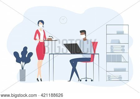 Secretary In Medical Mask Bring Coffee To Boss. Vector Illustration.