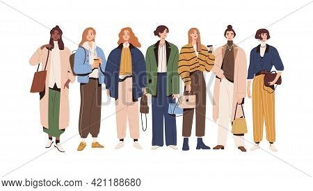 Group Of Stylish Women Wearing Fashion Outfits. Young Female Characters Standing In Modern Casual Cl