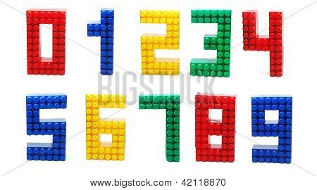 Plastic Blocks Digits Set Isolated