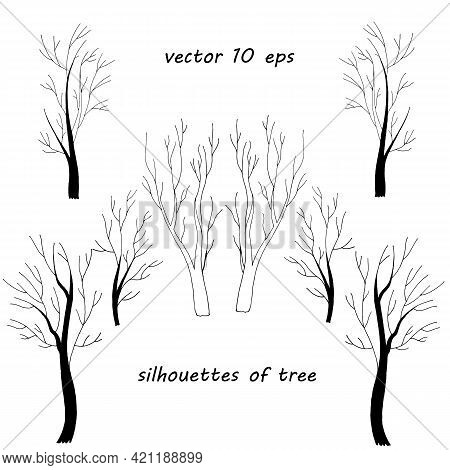 Silhouettes Of Tree Trunks With Fancy Branches Isolated On White Background