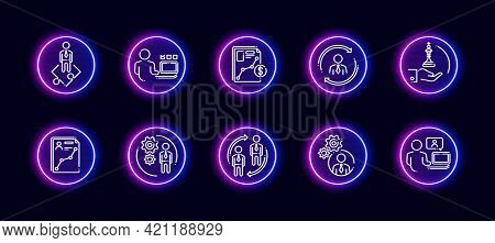 10 In 1 Vector Icons Set Related To Business Company Management Theme. Lineart Vector Icons In Neon
