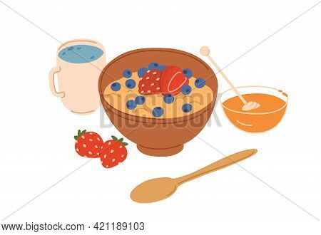 Bowl Of Porridge Decorated With Berries And Natural Honey For Healthy Breakfast. Tasty Cereal Served