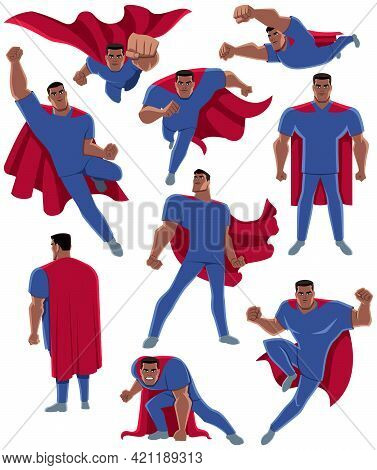 Set With Cartoon Superhero Medical Doctor Or Registered Nurse, In Different Poses.