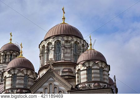 View Of The Upper Part Of The Christian Church With Round Domes And Crosses