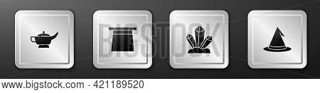 Set Magic Lamp Or Aladdin, Hat, Stone And Witch Icon. Silver Square Button. Vector