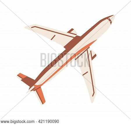 Top View Of Flying Airplane. Aircraft Flight. Plane With Tail, Wings And Engine. Passenger Air Jet.