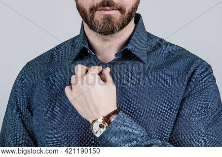 Bearded Man Cropped View Button Casual Style Shirt Grey Background, Dressing Informal