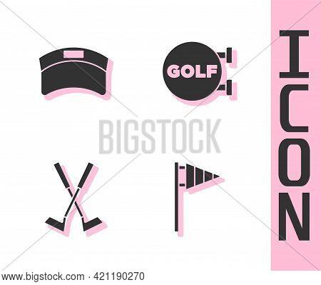 Set Golf Flag, Sun Visor Cap, Crossed Golf Club And Sport Icon. Vector