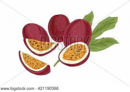 Ripe Whole Passionfruits And Their Cut Fleshy Pieces With Seeds Isolated On White. Juicy Sweet Passi