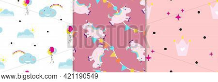Cute Girly Seamless Patterns With Princess Items. For Textile, Wrapping Paper, Packaging, Book Cover