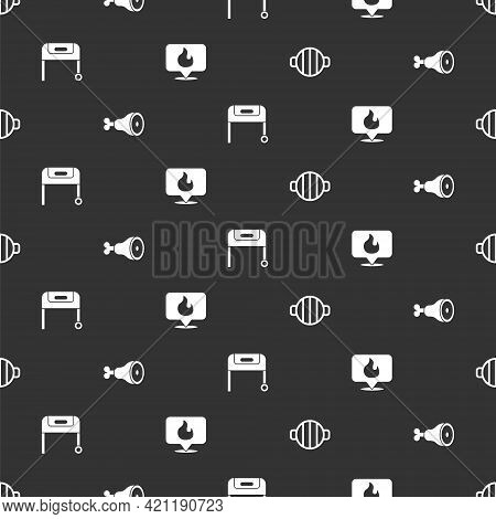 Set Barbecue Grill, Chicken Leg, And Location With Fire Flame On Seamless Pattern. Vector