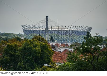 Warsaw. Poland - August 2015: Pge Narodowy Or National Stadium Is The Football Stadium Located In Wa