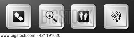 Set Human Footprints Shoes, Paw Search, Rabbit And Hare Paw And Mop Icon. Silver Square Button. Vect