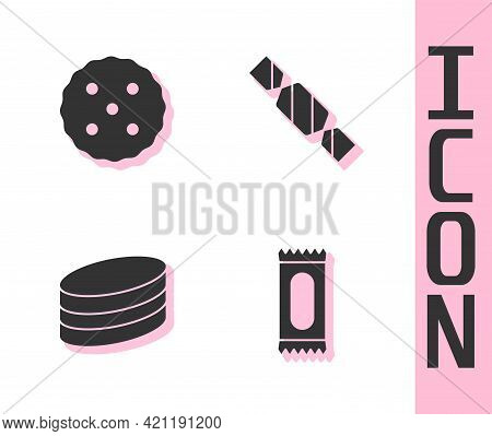 Set Candy, Cookie Or Biscuit, Brownie Chocolate Cake And Icon. Vector