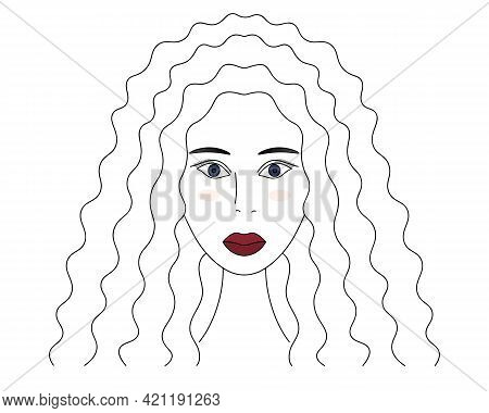 African American Woman. Sketch. Lady's Head With Blue Eyes. Vector Illustration. The Girl's Face. Lo