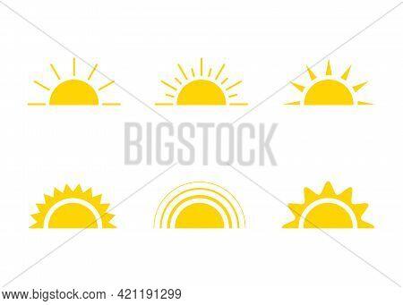 Yellow Sun Icon, Sunshine And Sunrise Or Sunset. Decorative Sun And Sunlight. Hot Solar Energy For T