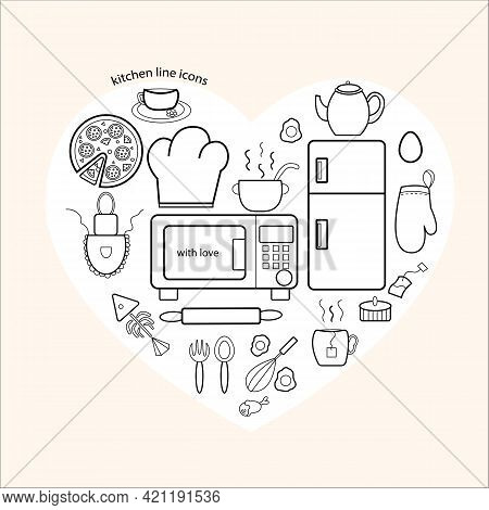 Icons Of Kitchen Items To You Vector Illustration