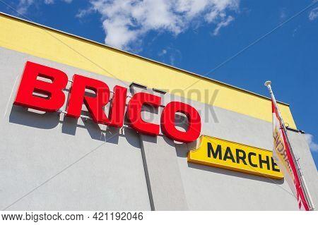Poland, Poznan - May 08, 2021: Logo Bricomarche Superstore. Intermarche Commercial Building Supermar