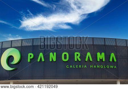Poland, Poznan - May 08, 2021: Panorama, Large Shopping Mall - Company Logo