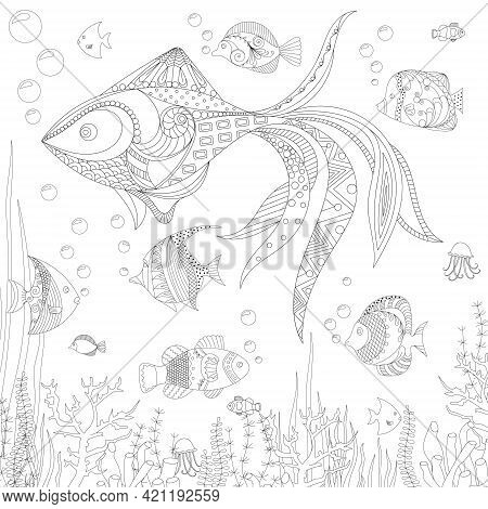 Hand Drawn Decorative Fish For For The Anti Stress Coloring Page. Hand Drawn Black Decorative Fish I
