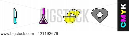 Set Knife, Barbecue Spatula, Saucepan And Chef Hat Icon. Vector
