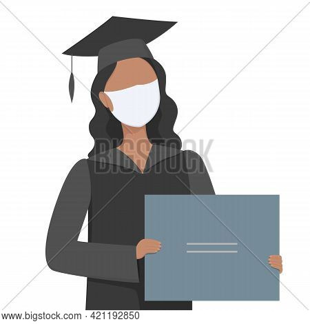 University Graduate In Mask Hold Diploma. Post-secondary Education Vector Illustration.