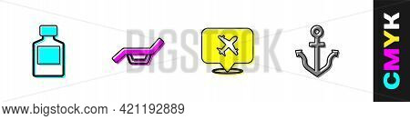 Set Whiskey Bottle, Sunbed And Umbrella, Speech Bubble With Airplane And Anchor Icon. Vector