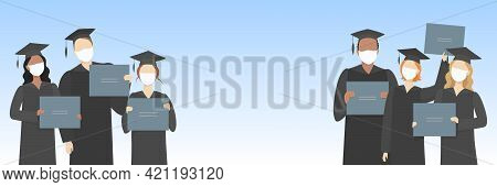 Graduate Students In Masks And Mortarboards Hold Diplomas. Vector Illustration.