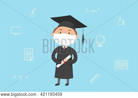 Graduate Student In Mask And Mortarboard Hold Diploma. Cartoon. Vector Illustration.