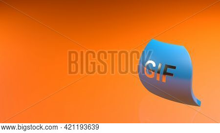 Gif Blue Icon On Orange Background - 3d Rendering Illustration