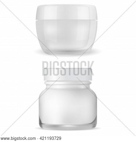 Cream Jar Mockup. Clear Cosmetic Package, Face Creme Container. 3d Vector Can, Glossy Glass Packagin